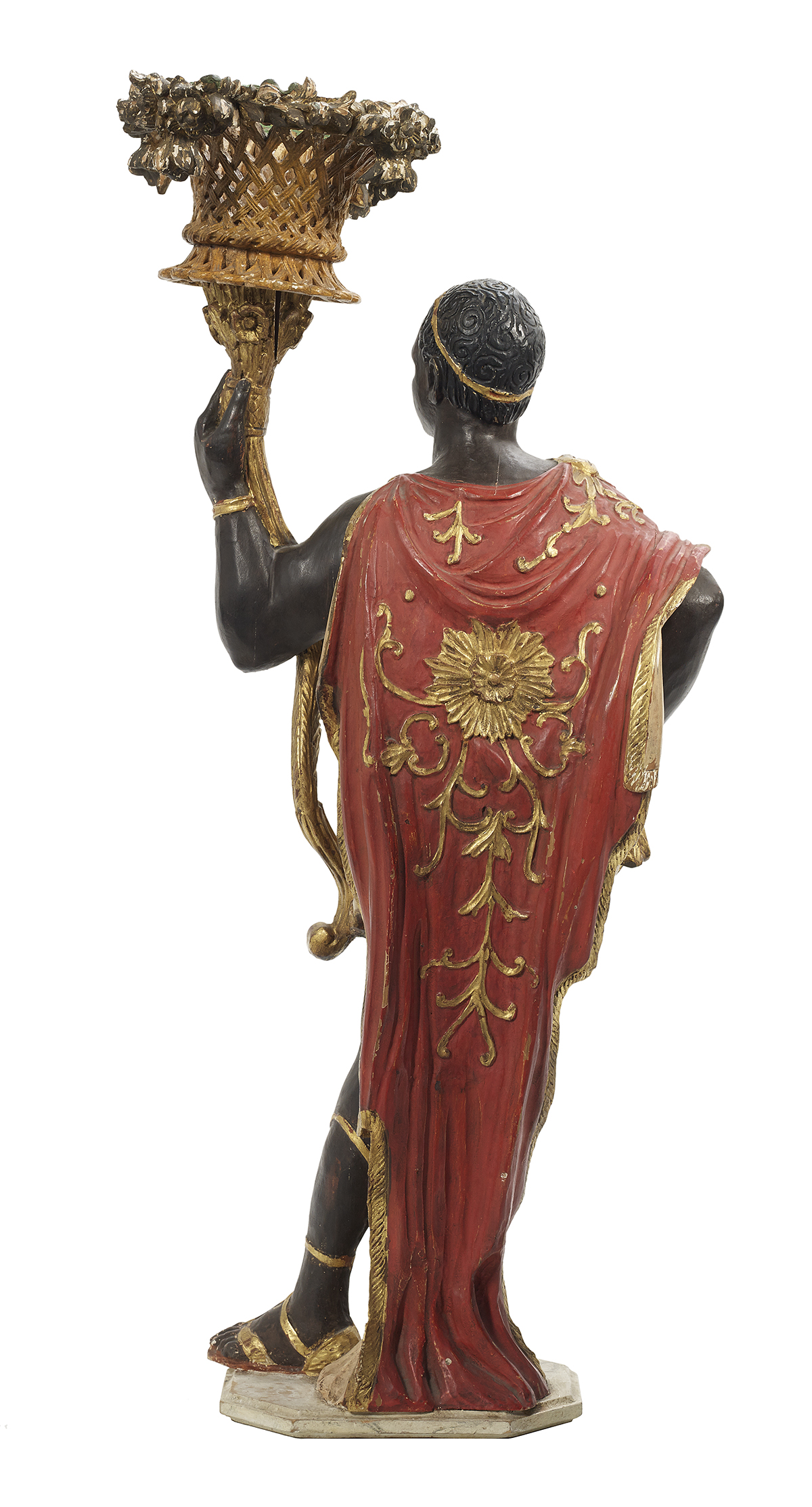Lot 96 - Carved, Painted and Parcel-Gilt Blackamoor