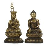 Lot 993 - Two Gilt-Metal Buddha Figures