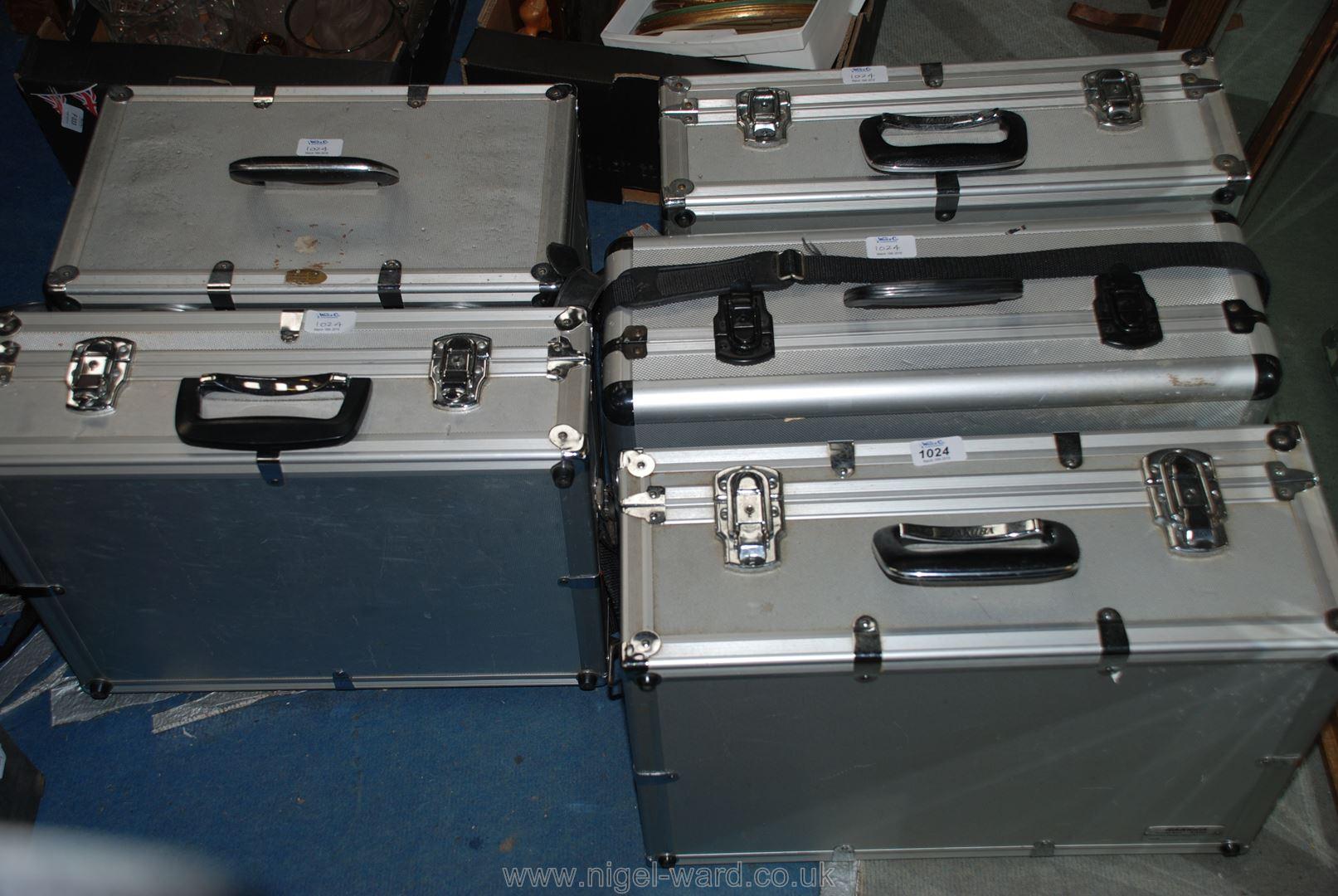 Lot 1024 - Five large aluminium camera flight cases.