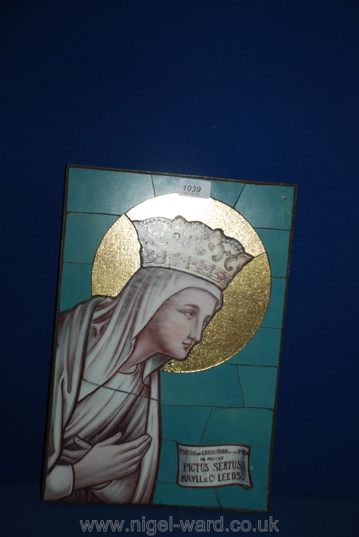 Lot 1039 - A rare late Victorian Kayll & Co of Albion street, Leeds Icon of the Madonna,