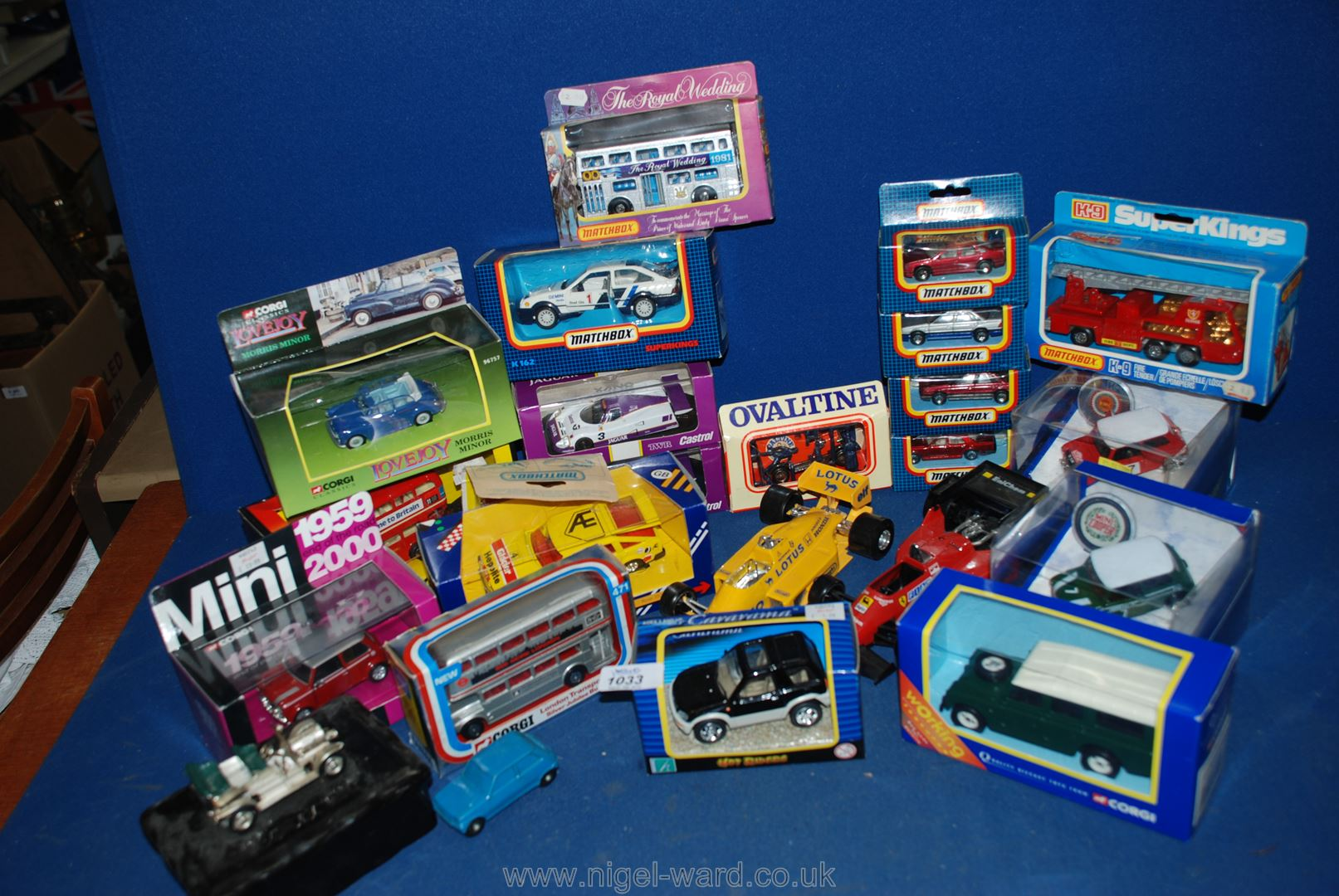 Lot 1033 - A quantity of Corgi and Matchbox toy cars including; Mini, Fiat, Lotus, Landrover, etc.