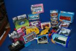 Lot 1033 - A quantity of Corgi and Matchbox toy cars including; Mini, Fiat, Lotus, Landrover, etc.