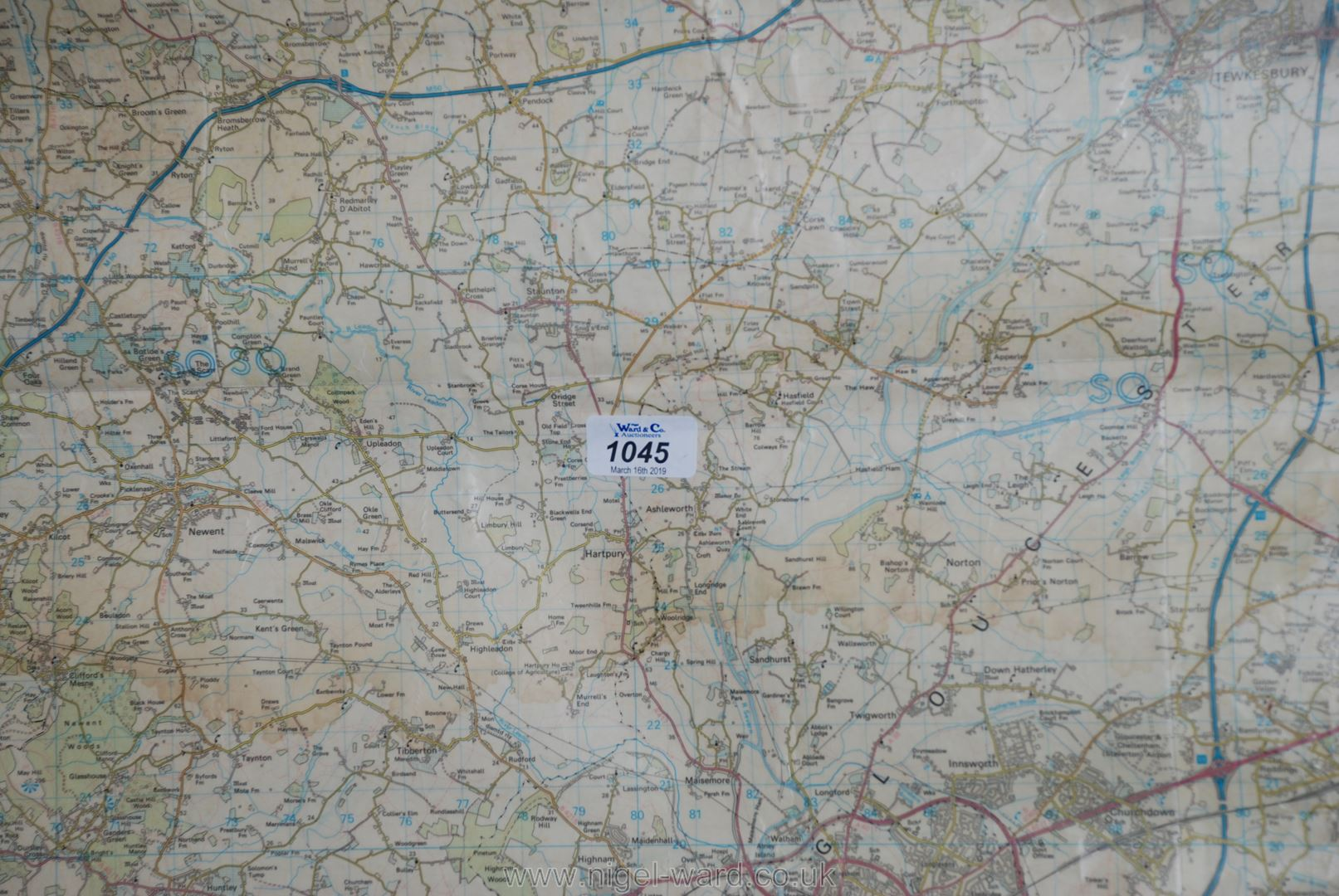 Lot 1045 - A large Ordnance Survey map of Glos/Hereford on linen.