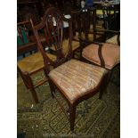 Lot 1875 - A shield back rest Mahogany Dining Chair with fretworked splat and moulded tapering square front