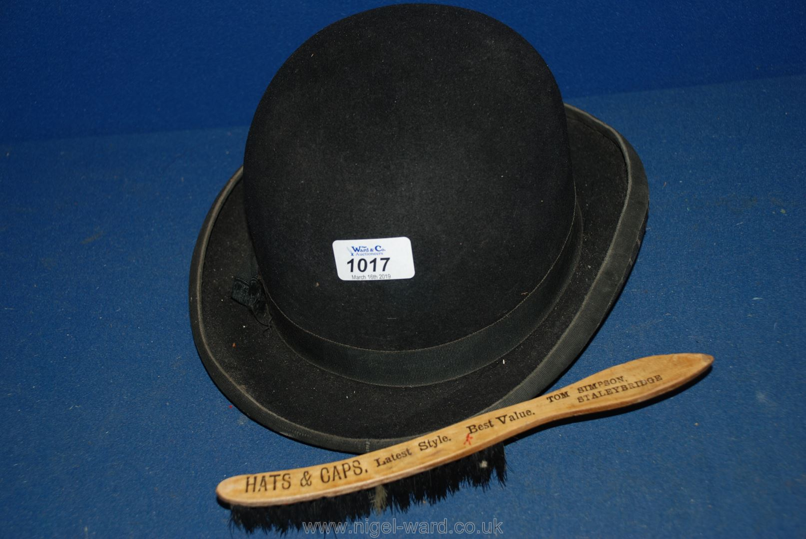 Lot 1017 - A Woodrow of Piccadilly bowler Hat and hat brush.