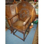 "Lot 1876 - An older reproduction Oak Monk's Seat, the top 27"" diameter approx."