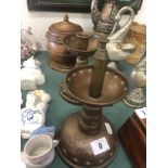 Pair of arts and crafts brass smokers stands,