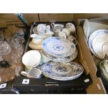 A box of assorted chinaware
