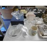A group of boxed and unboxed ornaments and glassware including Stuart crystal and Doulton