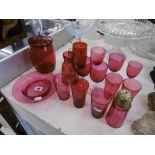 Fifteen piece of cranberry glass