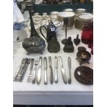 A small assortment of metal ware