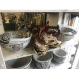 Two sets of three Canton fruit bowl sets
