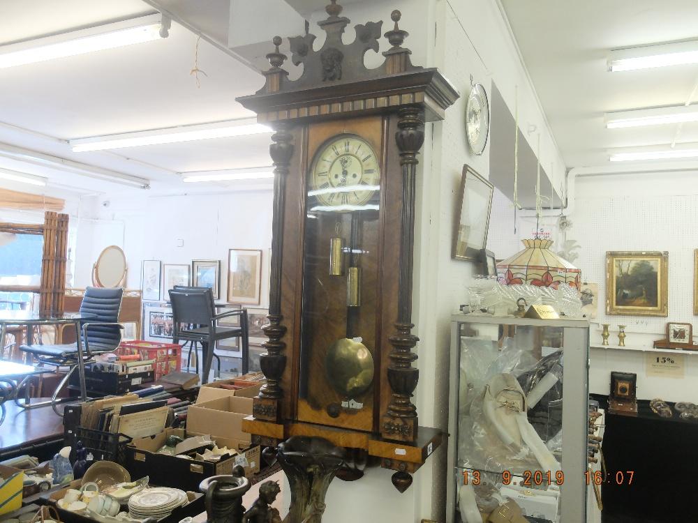 Lot 302 - A 19th century Vienna regulator clock