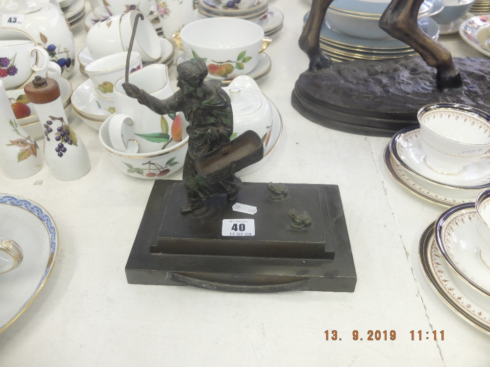 Lot 40 - A cast bronze figure of a lady and frogs