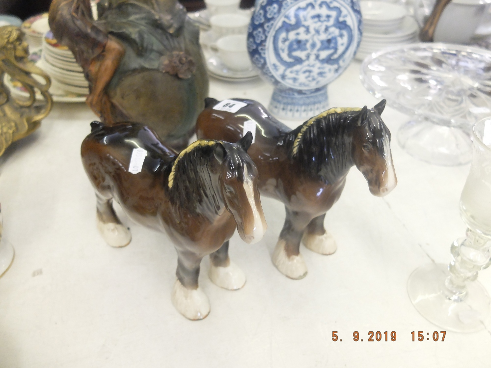 Lot 37 - Two Beswick shire horses