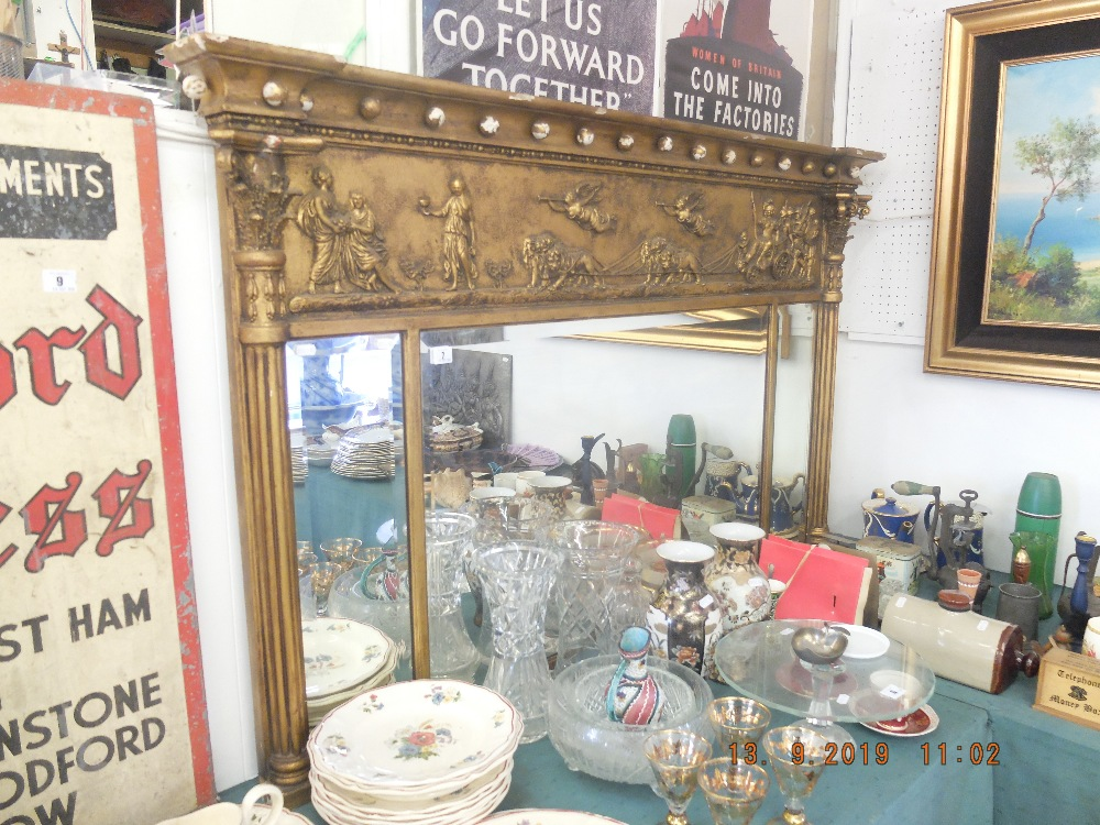 Lot 7 - A Victorian gilt wood and gesso over mantle mirror