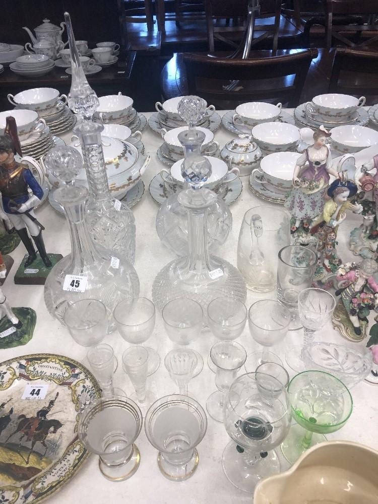 Lot 4 - A quantity of assorted glassware including four decanters (A/F)