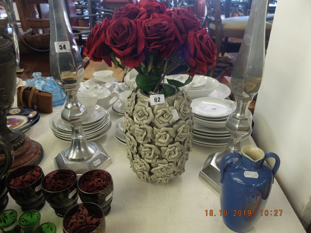 Lot 28 - Grey vase and roses