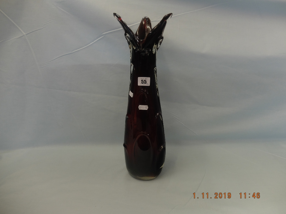 Lot 55 - A ruby red Murano 1950's glass vase