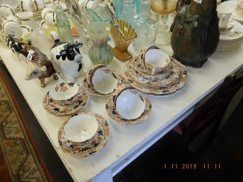 Lot 33 - A Victorian pottery part tea set
