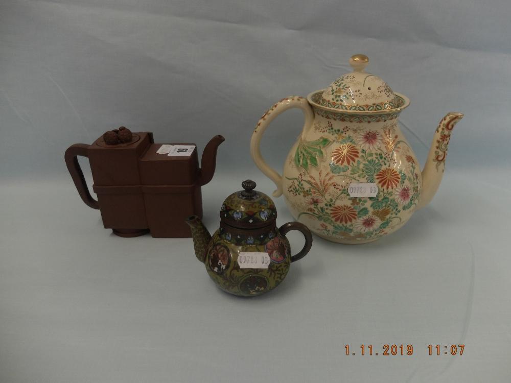 Lot 19 - A miniature cloisonne teapot,