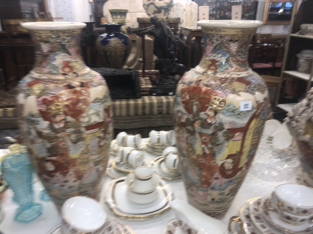 Lot 22 - A pair of large Satsuma vases