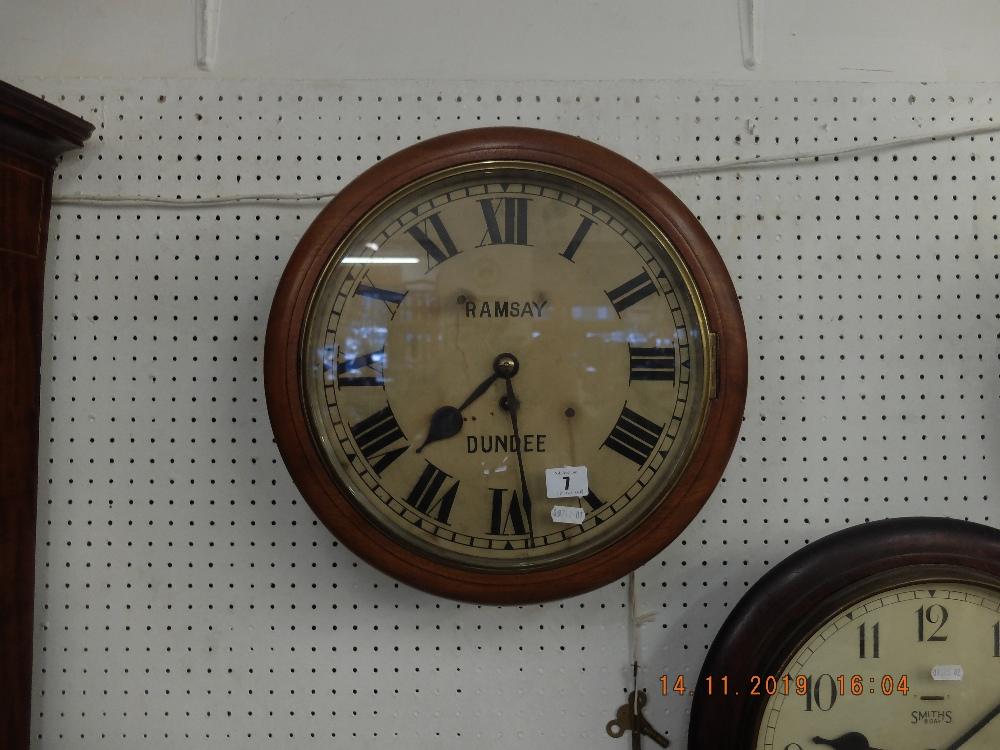 Lot 7 - A Ramsey Dundee mahogany cased station clock
