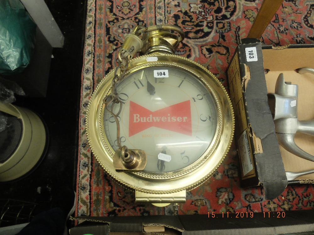 Lot 104 - A Budweiser advertising clock