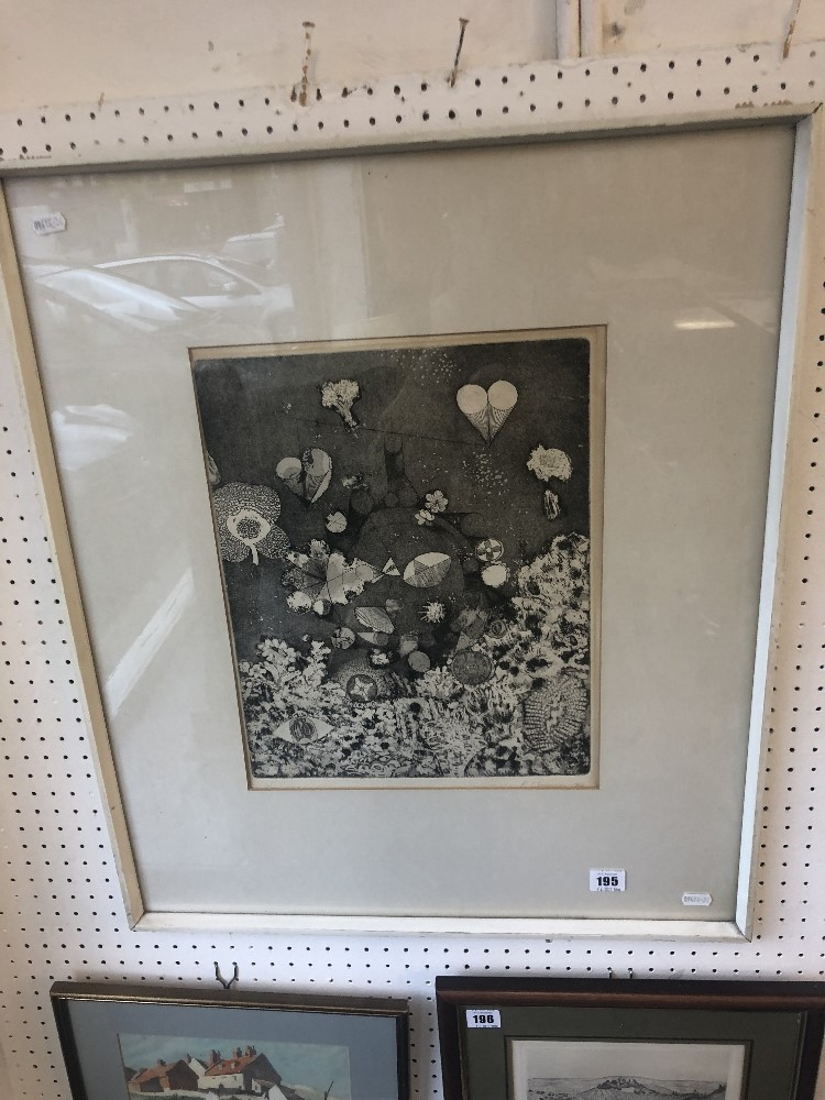 Lot 199 - A surrealist framed etching signed P Simpson,