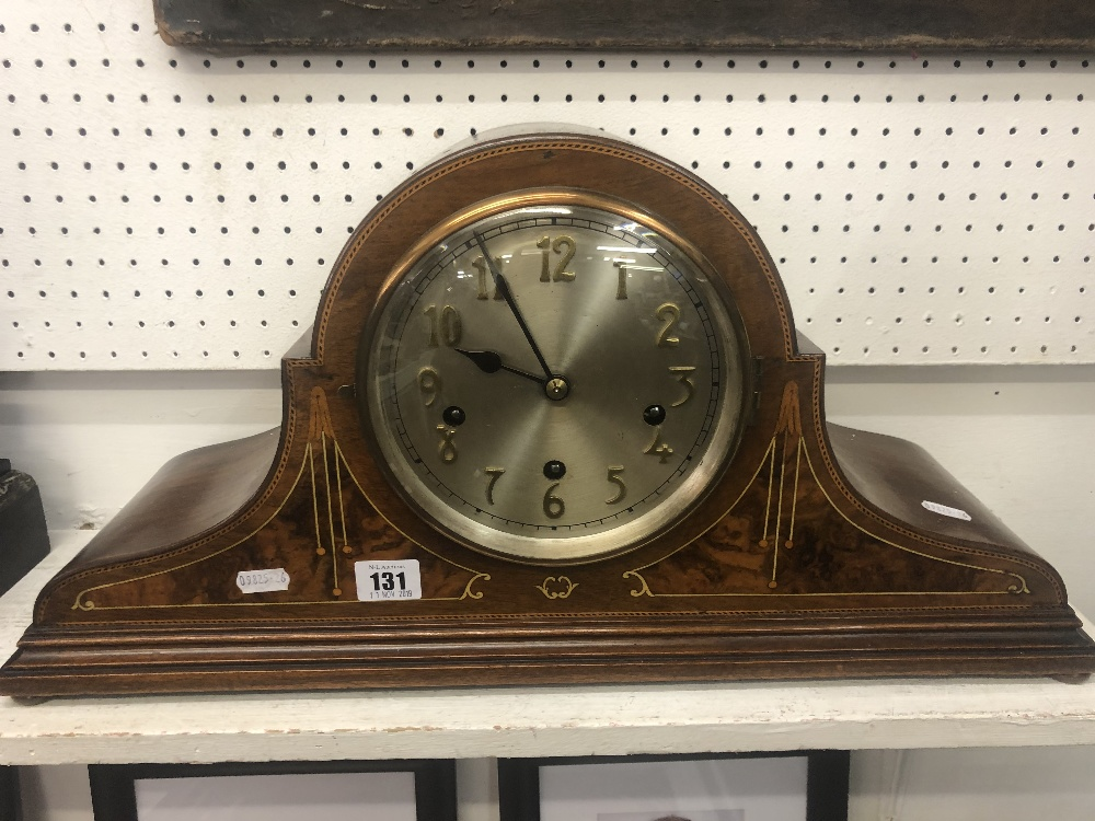 Lot 121 - An inlaid chiming mantle clock