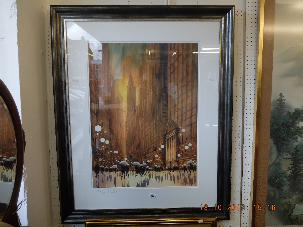 Lot 195 - A framed watercolour Fifth Avenue signed Peter Rodgers