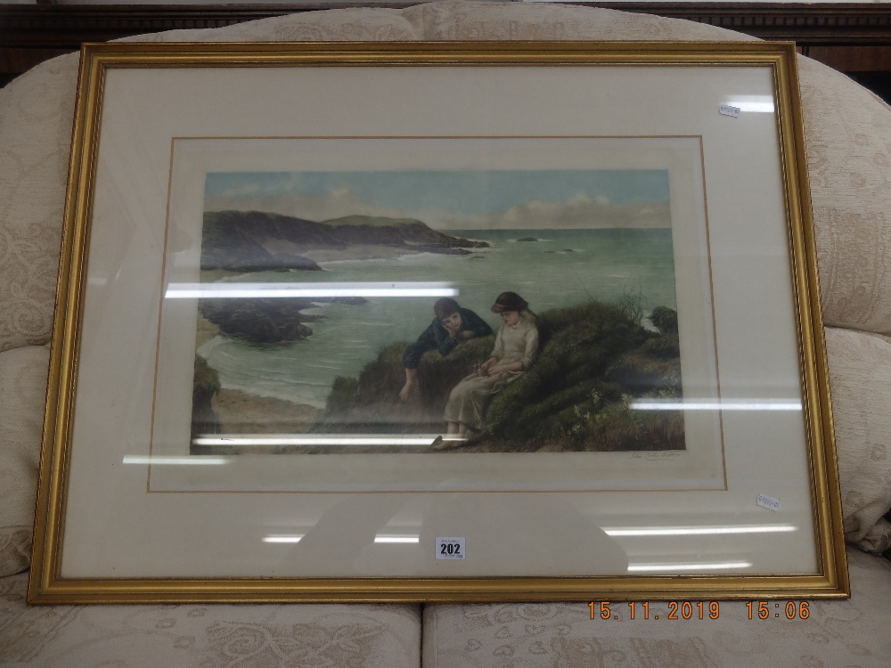 Lot 202 - A 19th century framed colour engraving, coastal scene with figures,