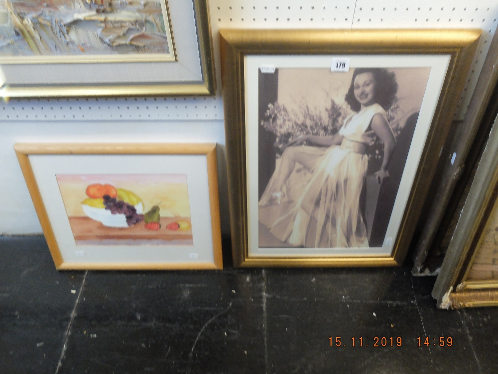 Lot 179 - One framed print and a watercolour
