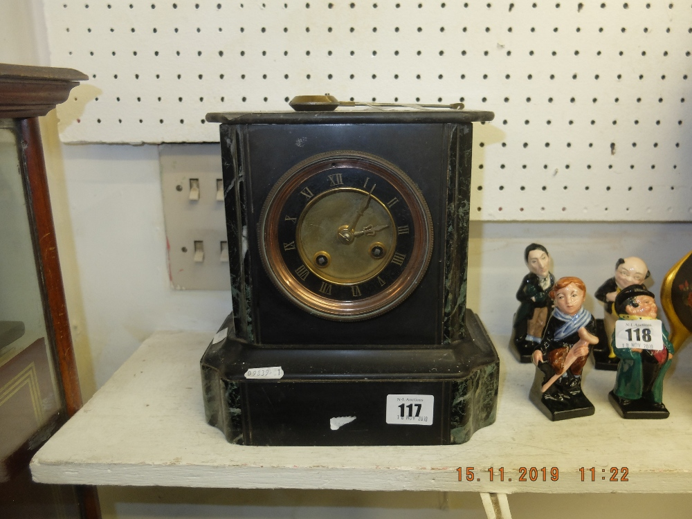 Lot 117 - A Victorian marble clock, working order,