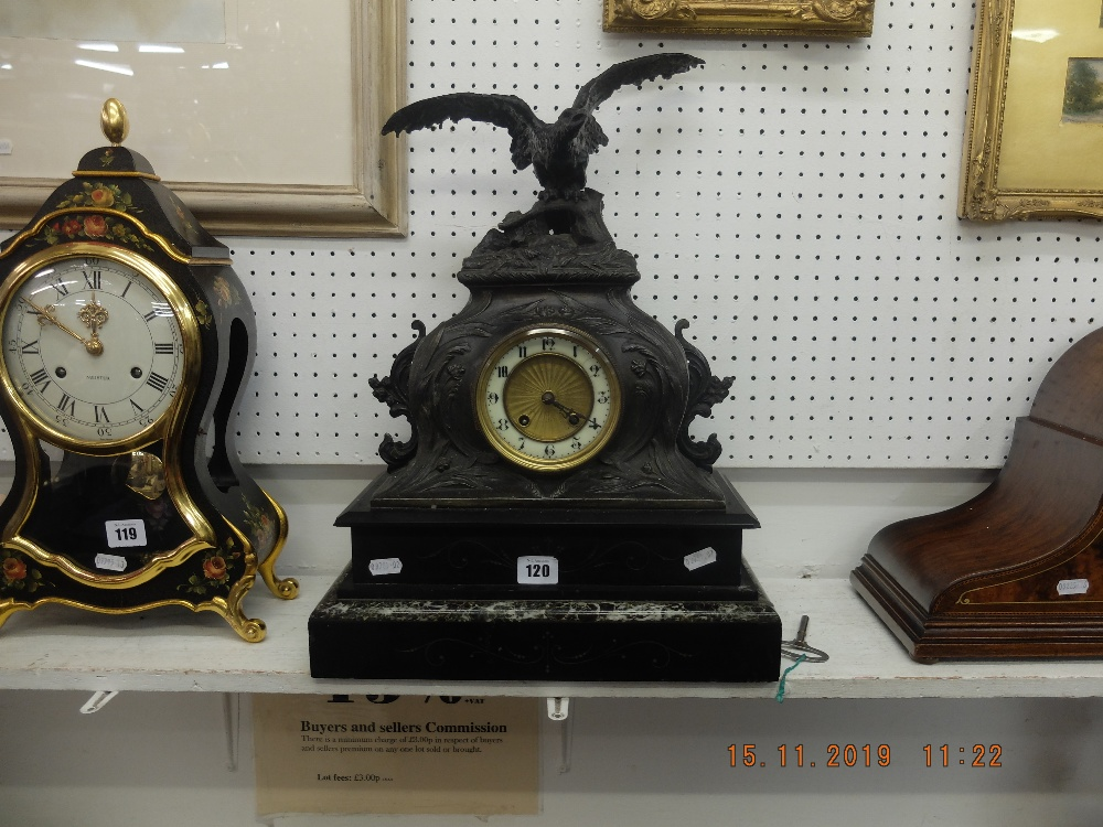 Lot 120 - A French spelter clock on marble and black onyx base surmounted with eagle