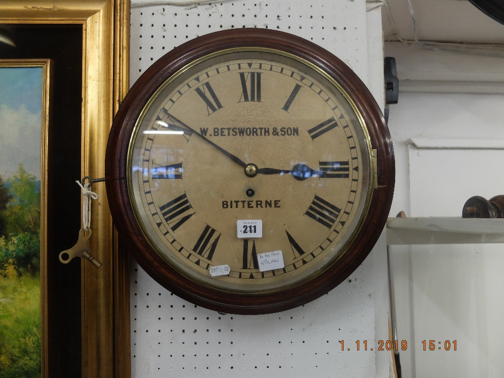 Lot 5 - A W Betsworth and Son Bitterne mahogany cased station clock