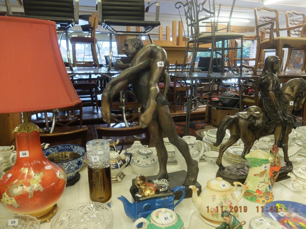 """Lot 34 - A bronze sculpture """"Horseplay"""" 1988 artist John Clinch 1934-2001."""