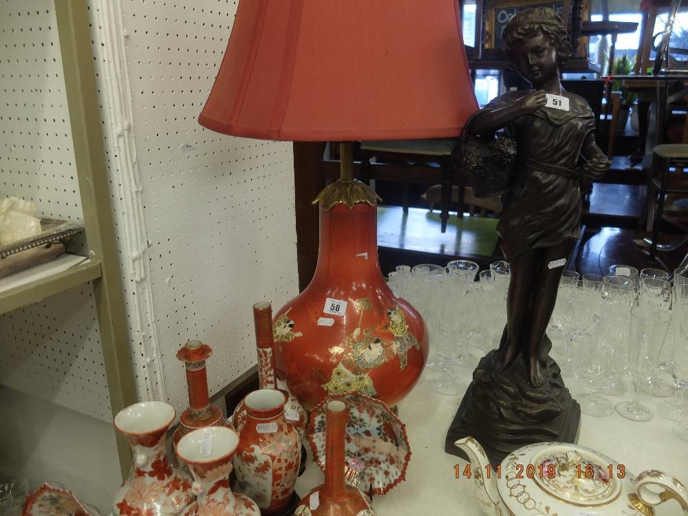 Lot 50 - A 19th century Japanese Satsuma lamp with bronze base