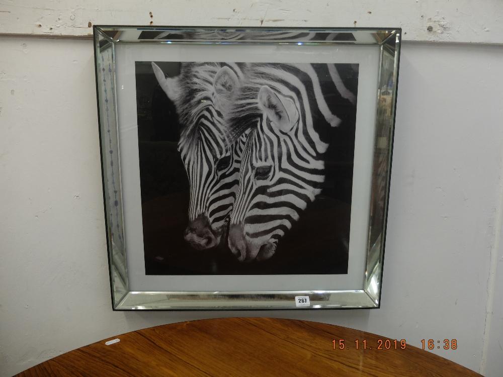 Lot 267 - A print of a Zebra in mirrored frame