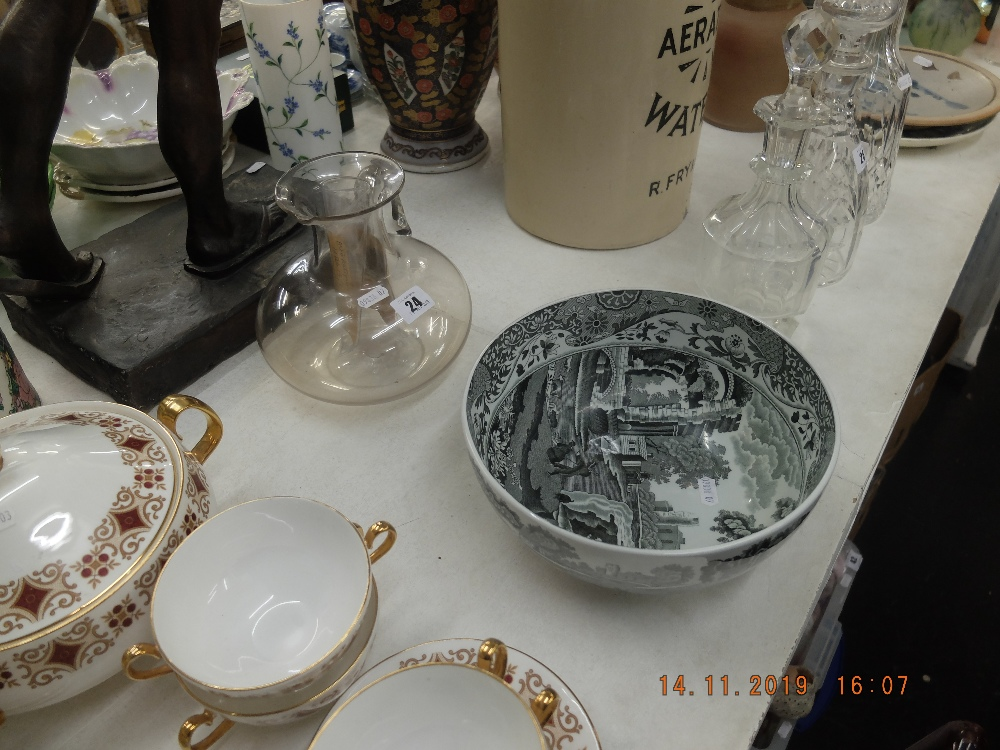 Lot 24 - A Copeland Spode Italian bowl and an early 19th century glass jug