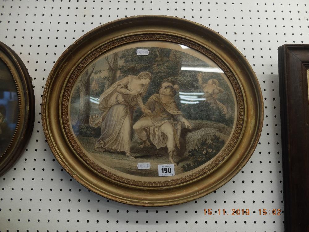 Lot 190 - An oval gilt framed Bartolozzi print