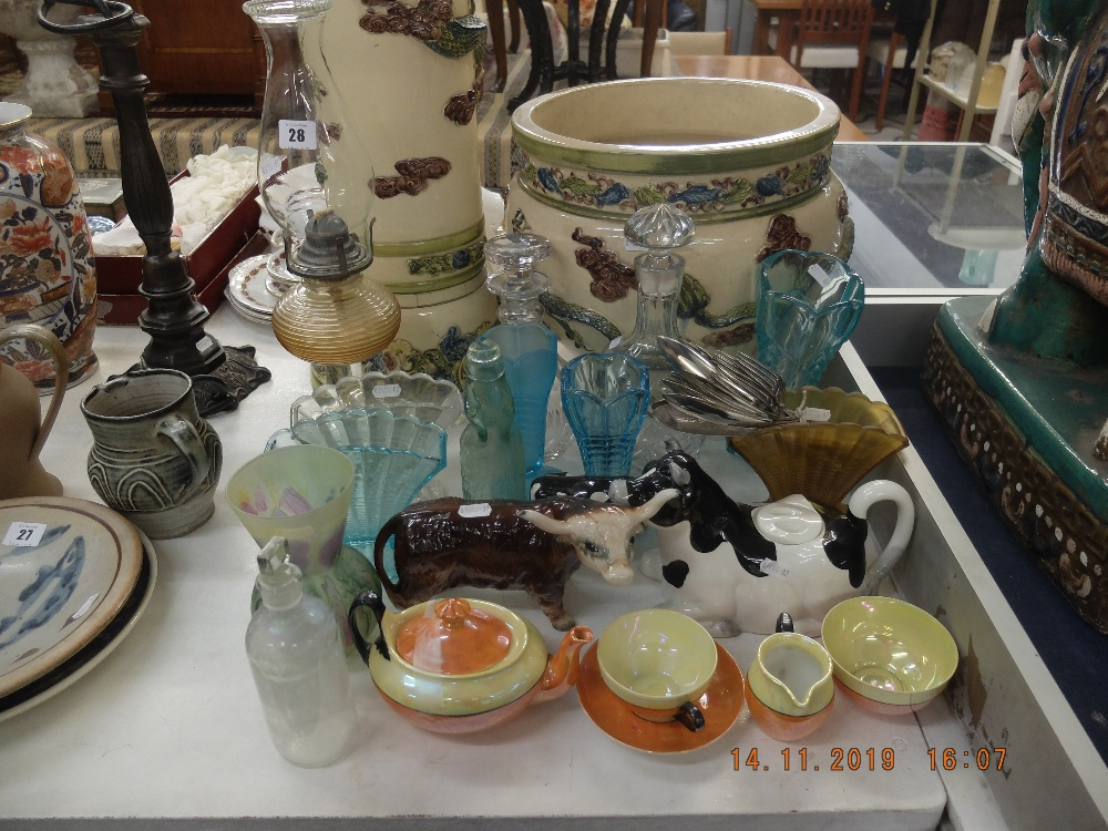 Lot 28 - A mixed assortment of assorted sundries including oil lamp and bachelor tea set