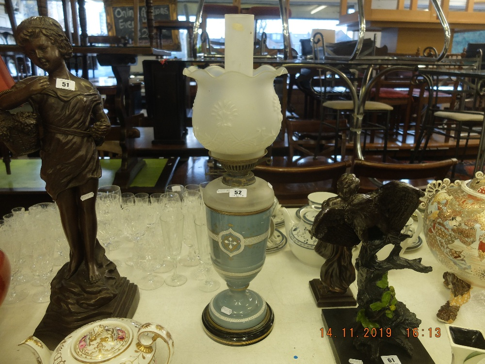 Lot 52 - A Victorian Wedgewood oil lamp