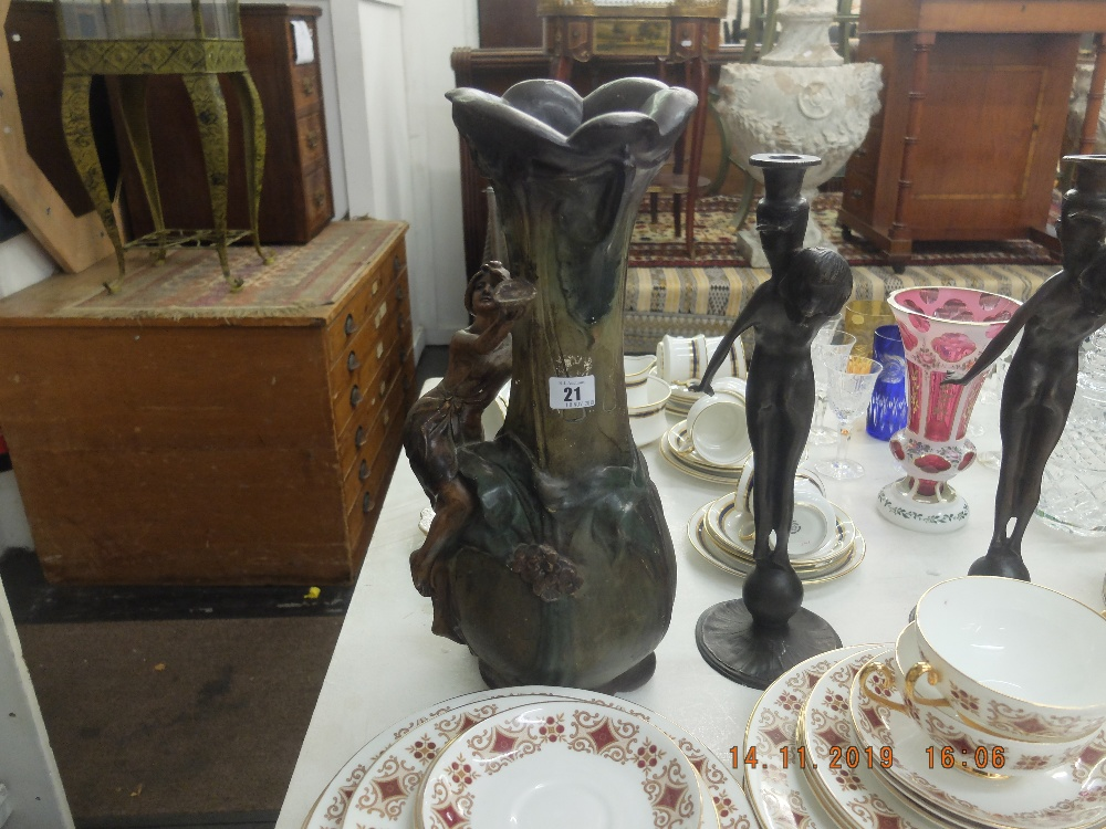 Lot 21 - An early French art nouveau vase,