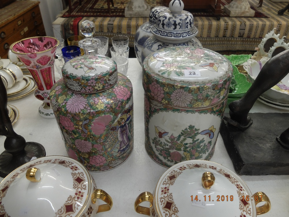 Lot 23 - Two canton lidded jars