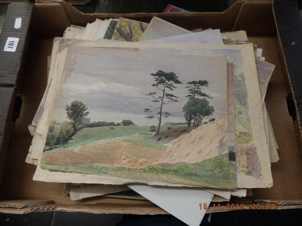 Lot 197 - Six assorted unframed watercolour pictures