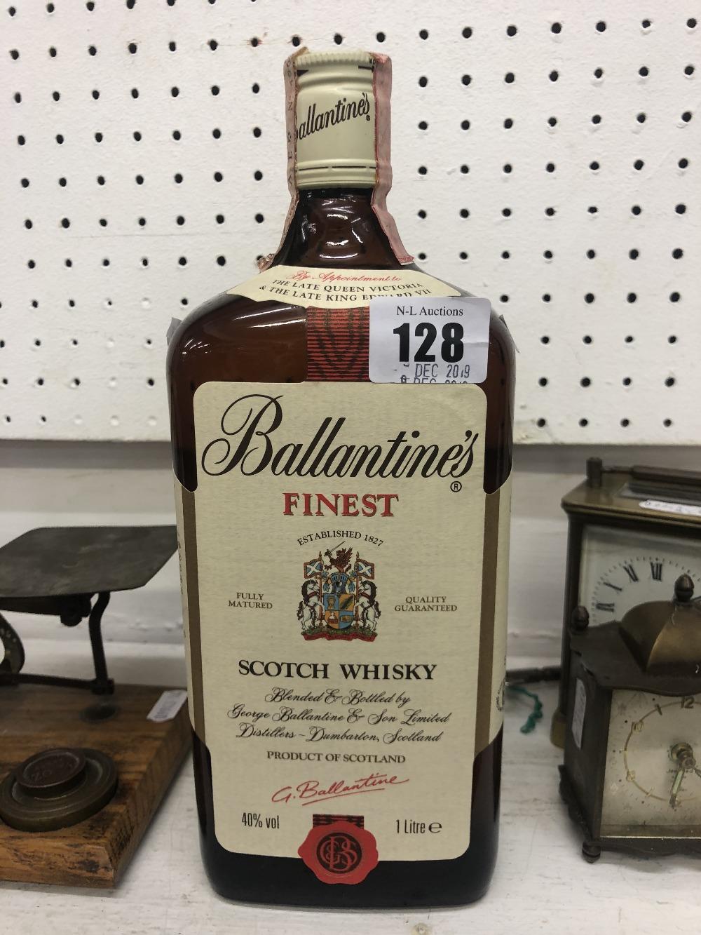 Lot 128 - A 1970's Ballantines finest Scotch Whisky 1 Litre bottle 40 proof,