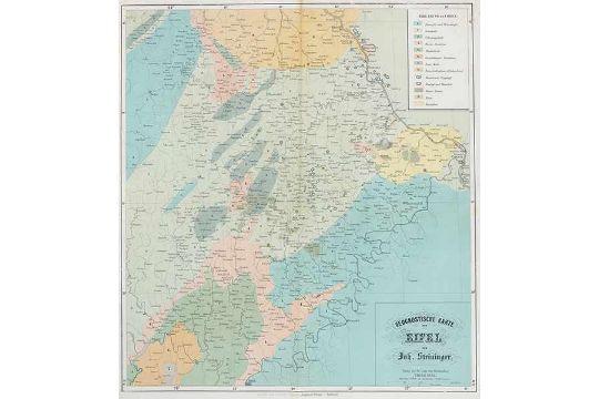 Karte Eifel.Deutschland Eifel Steininger Johann Geognostische