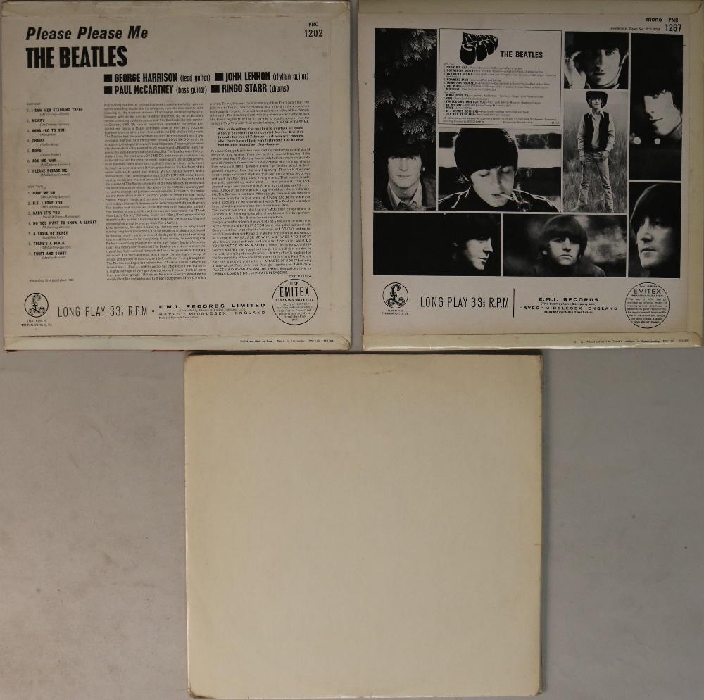 Lot 3 - PLEASE PLEASE ME/RUBBER SOUL/WHITE ALBUM - UK LPs. Ace set of early UK pressing LPs.