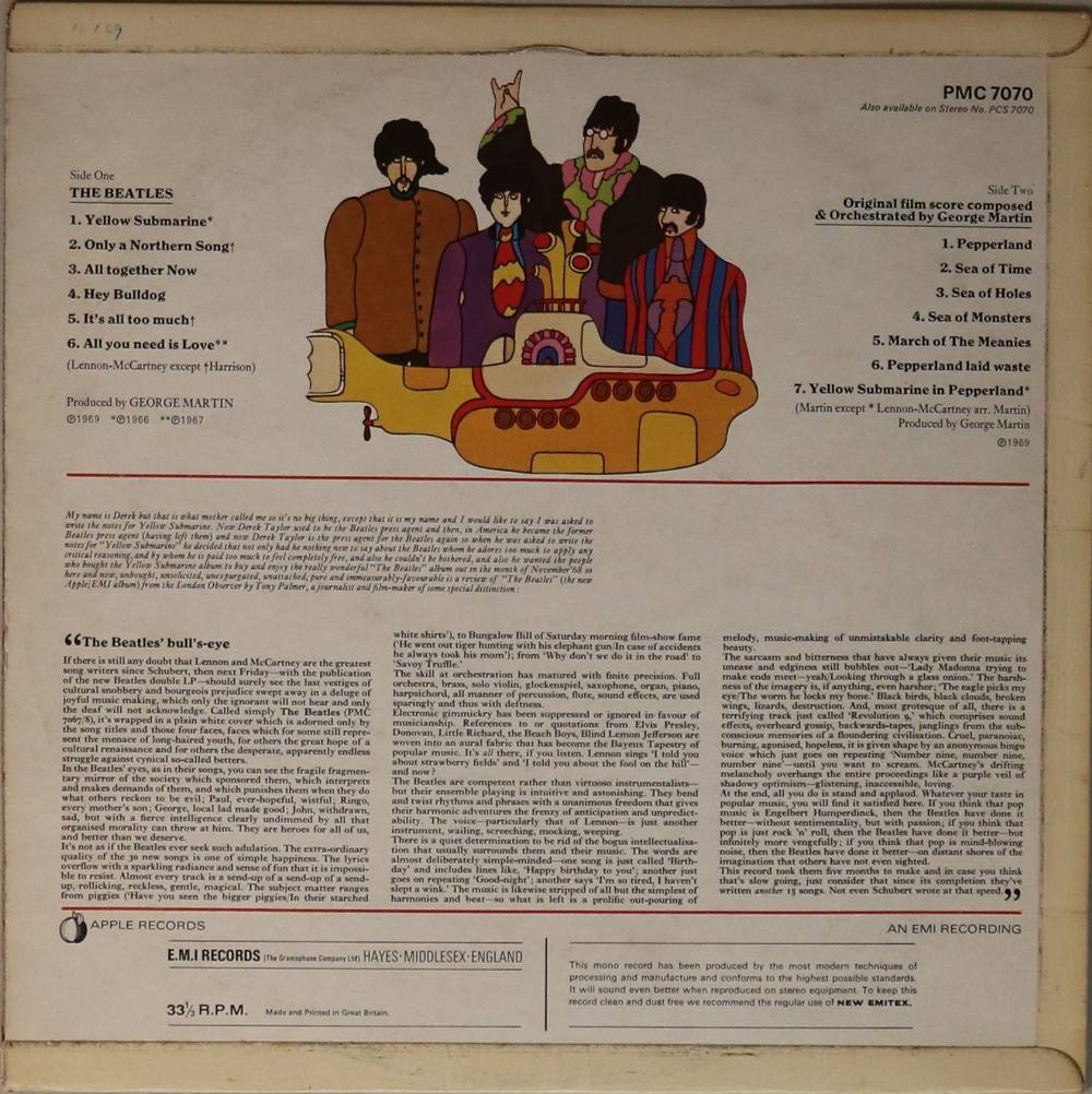 Lot 6 - YELLOW SUBMARINE - ORIGINAL UK MONO LP (PMC 7070).